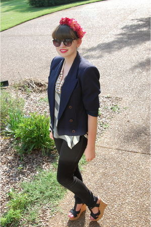 black Guess jeans - blue vintage blazer - white American Rag top - black limelig