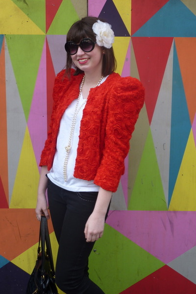 red H&M jacket - black oxfords Via Spiga shoes - black outlet store Guess jeans