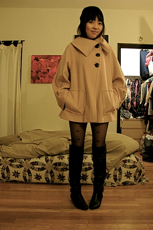pink Zara coat - black Nine West boots