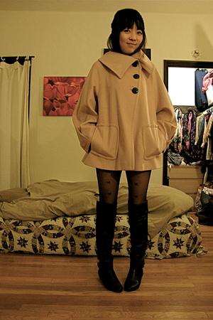 pink Zara coat - black Nine West boots
