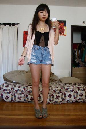 pink cotton on cardigan - Levis 510 shorts - DIY top