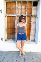 thrifted vintage shorts - 80s ikat belt Gisela&Zoe Vintage belt