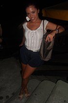 white abercrombie and fitch shirt - dark brown longchamp bag - navy H&M shorts