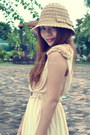 Eggshell-flowy-random-dress-tan-crochet-www-hat-beige-random-heels