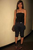 black top - blue pants - brown belt - black boutique shoes