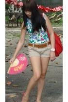 random printed top - Forever 21 shorts - from Thailand belt - Mango purse