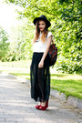 Maxi-sheer-american-apparel-skirt-oasap-hat-thrifted-bag