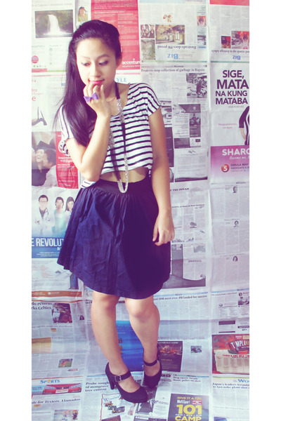 striped hanging Popstar top - school girl Jewels skirt - necklace - S&H heels