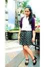 Black-skirt-white-jewel-blouse-purple-jewel-cardigan-black-s-h-pumps