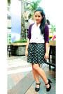 Black-skirt-white-jewel-blouse-purple-jewel-cardigan-black-s-h-pumps
