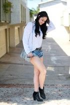Fossil boots - H&M sweater - One Teaspoon shorts