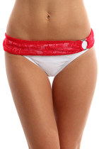 GLAMOROUS LIFE Missy White &amp; Red Lace Bikini Bottoms, Swimsuit, Bikini Separates