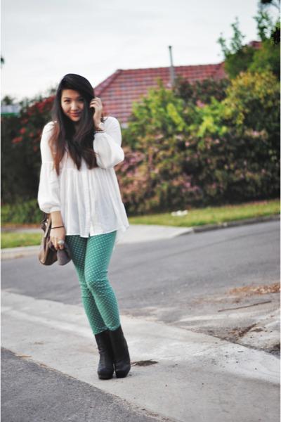 stylestalker shirt - rise acne boots - Current Elliot jeans