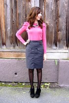 black Shoedazzle boots - pink sweater - black Urban Outfitters tights - gray For