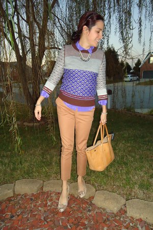 Jcrew sweater - old Jcrew bag - silk Jcrew blouse - pants - Nine West flats