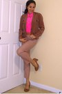 Brown-silk-jcrew-blazer-hot-pink-silk-jcrew-shirt