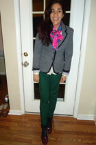 bubble gum silk scarf - charcoal gray Target blazer - black Forever 21 socks