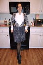 Dark-gray-diy-skirt-black-scroll-print-cardigan-ivory-zara-blouse