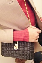 red The Limited sweater - ann taylor blazer - thrifted vintage purse