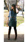 Gray-old-navy-cardigan-gray-anne-taylor-loft-dress-black-tj-maxxx-leggings-