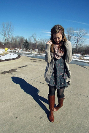 brown boots - teal dress - light pink scarf - beige cardigan
