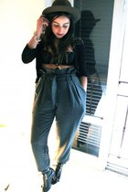 black Zara blouse - gray Cheap Monday pants - gray vintage hat - black Topshop s