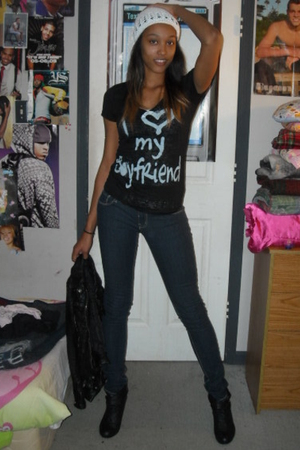 Chinese Hair Store hat - Forever 21 shirt - Rue 21 jeans - Bebe jacket - Madden