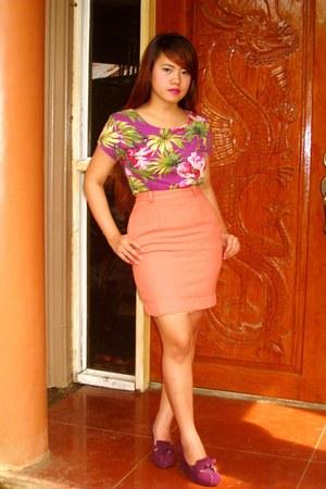 purple Forever 21 shirt - coral SOSI STUFF skirt - deep purple Zara heels