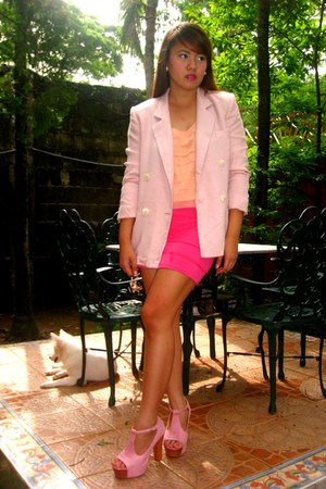 pink Jeffrey Campbell shoes - bubble gum SOSI STUFF blazer - peach soiree top