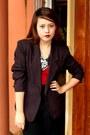 Black-sosi-stuff-blazer-black-zara-pants-red-cotton-on-top