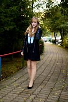black Lookbook Store coat - sky blue Stradivarius shirt - black Pepco skirt