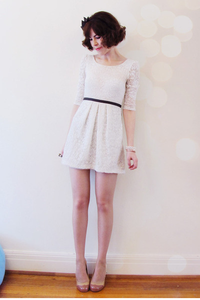 light pink naplak Miu Miu heels - ivory leni lace shift Forever New dress