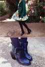 Green-floral-paper-heart-dress-black-lingering-dream-soles-boots