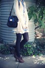 Blue-american-apparel-dress-white-ebay-skirt-beige-thurley-cardigan-brown-