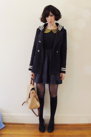 navy silk tba dress - navy sailor vintage coat - nude amalie Witchery bag
