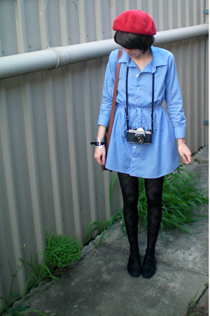 Myer hat - American Apparel dress - YSL purse - Forever New tights - Scooter sho