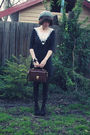 Black-miss-patina-dress-forever-21-jacket-black-sportsgirl-shoes-brown-vin