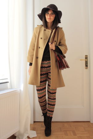 camel cape coat Zara coat - knitted pants H&M pants