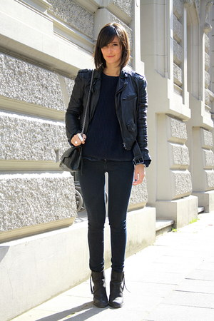 acne boots - H&amp;M jeans - Zara jacket - American Apparel sweater