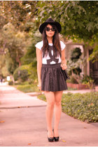 black Chanel bag - white Happiness is a 10 tee t-shirt - black 2b by bebe skirt
