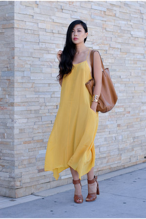 brown Old Navy bag - yellow Liberty Sage dress - brown JustFab heels