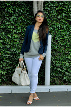 navy tailored madewell blazer - white skinny leg Old Navy jeans