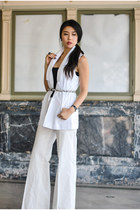 white tuxedo tailored Rebecca Minkoff vest - white wide leg Tibi pants