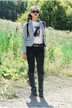 vintage choiescom blazer - knee-high boots JustFab boots