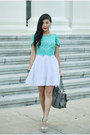 White-line-and-dot-dress-heather-gray-chloe-bag-aquamarine-2b-top