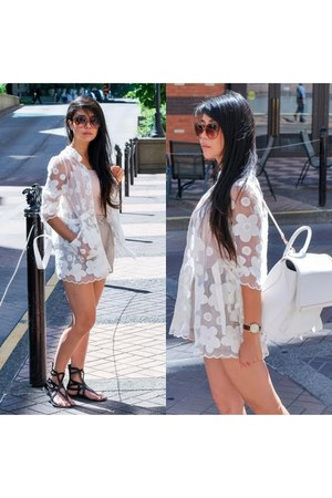 white sheer modcloth jacket - white oversized Aldo bag - beige lamade shorts