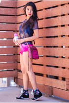 hot pink Rebecca Minkoff bag - hot pink ombre tapered True Religion shorts