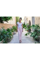 white white Bebe top - light pink Parker pants