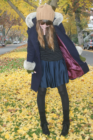 thrifted vintage coat - American Apparel socks - H&M skirt - Target wedges