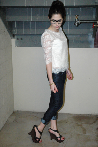 white Forever 21 blouse - blue JCrew jeans - black Charlotte Russe shoes - gold